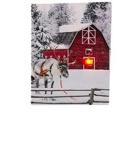 Canvas LED winter staand 20x15cm timer