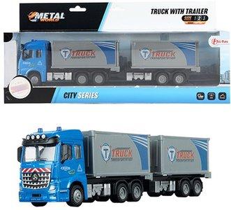 METAL Die-Cast Vrachtwagen EuroCombi aanhanger 1:43 pull back 30 cm